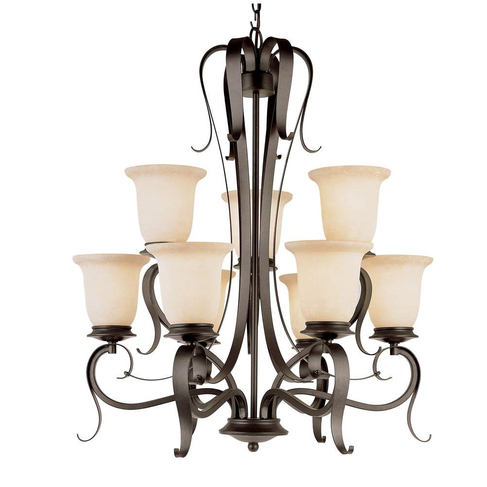 Bel Air Lighting 9-Light Black Chandelier with Champagne Frost Shade