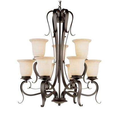 9-Light Black Chandelier with Champagne Frost Shade