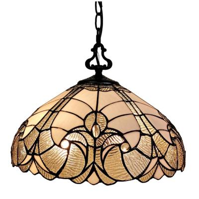 16 in. 2-Light Tiffany Style White Hanging Pendant Lamp