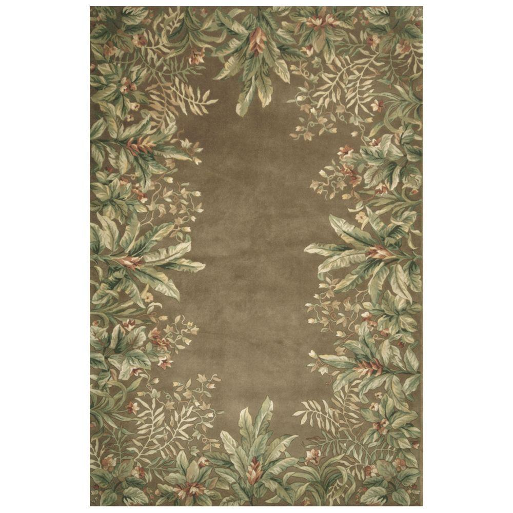 Kas Rugs Lush Border Tropics Taupe 3 ft. 6 in. x 5 ft. 6 in. Area Rug