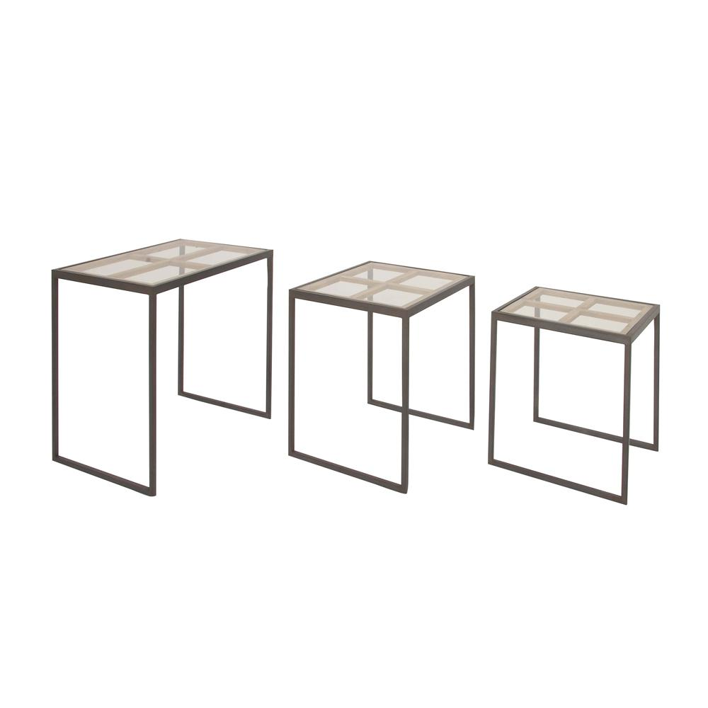 Litton Lane Modern Iron And Gl 3 Piece Nesting Rectangular Accent Table