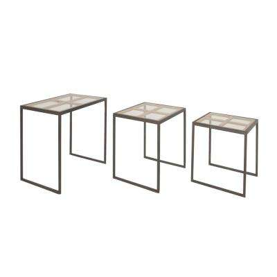 Blacks furniture Master Bedroom Modern Iron And Glass 3piece Nesting Rectangular Accent Table Furniture Today Blacks Furniture The Home Depot