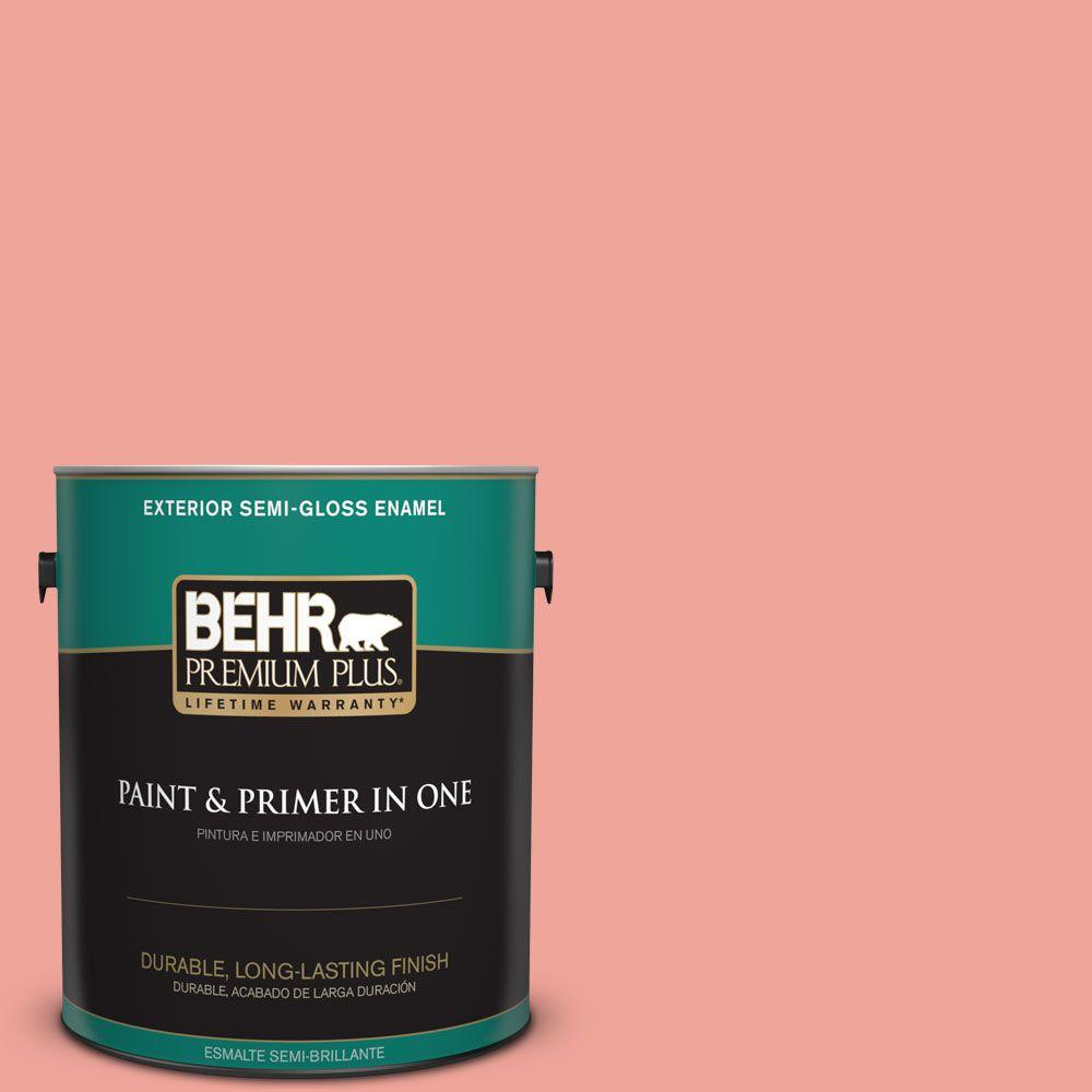BEHR Premium Plus 1-gal. #170D-4 Peach Tile Semi-Gloss Enamel Exterior Paint