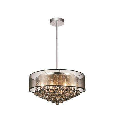 Radiant 9-Light Chrome Chandelier with Black shade