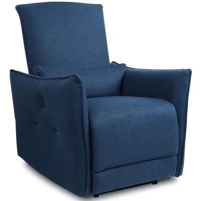 Blue Fabric Power Reclining Recliner Chair Adjustable Ergonomic  Single Sofa with USB Charging Port and Waist Cushion