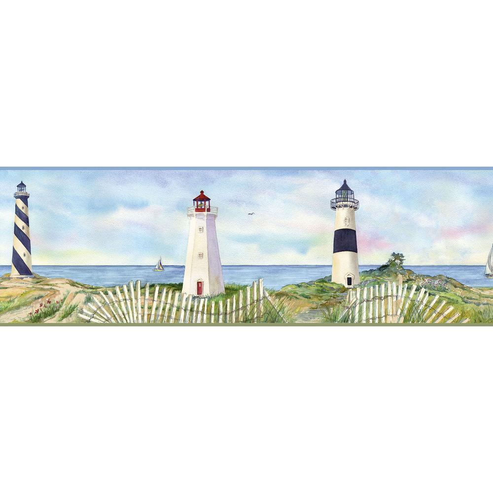 Eugene Light Blue Coastal Lighthouse Portrait Wallpaper Border Sample