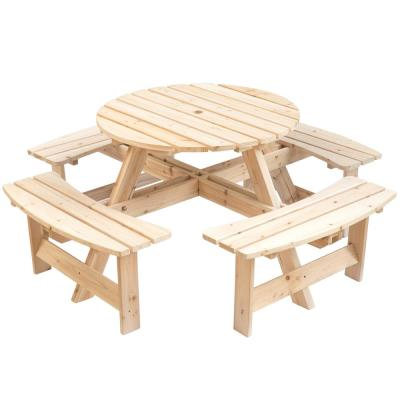 Natural 8-Person Round Wooden Outdoor Patio Garden Picnic Table with Bench