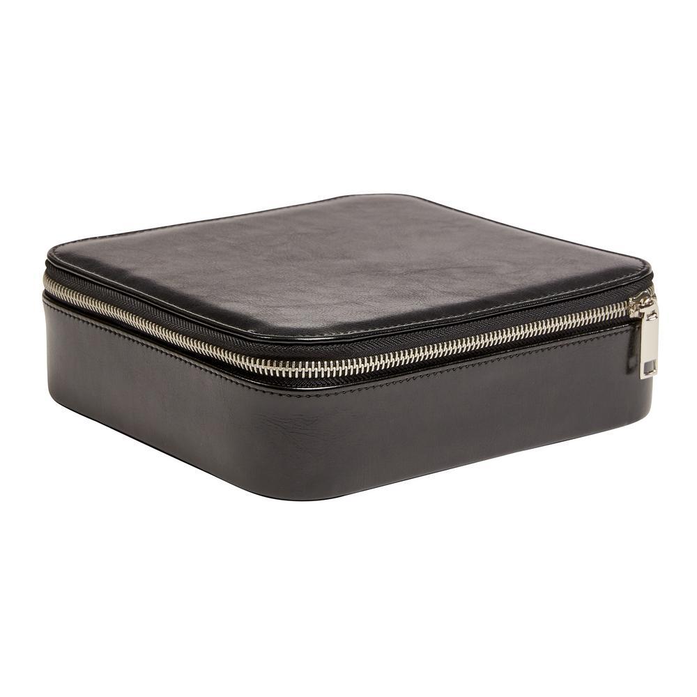 Gracie Black Faux Leather Jewelry Box
