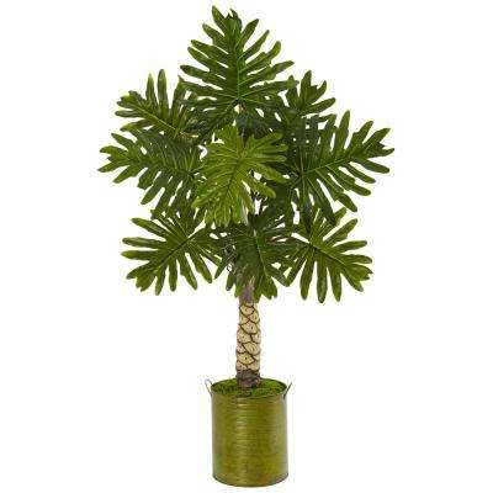 Indoor Monstera Artificial Tree in Green Metal Planter