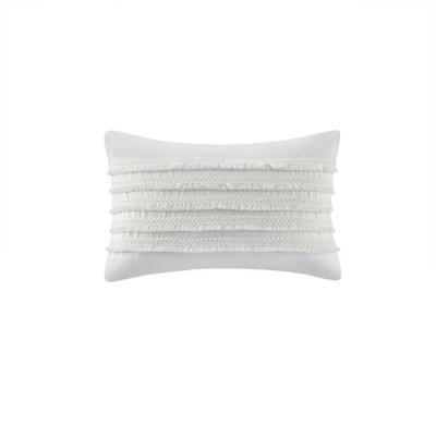 Daria Ivory 12 in. W x 20 in. L Cotton Oblong Pillow