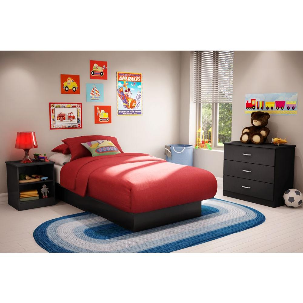 South Shore Libra Twin-Size Platform Bed in Pure Black