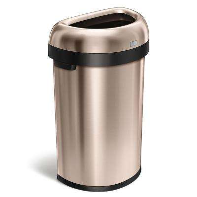 60-Liter Rose Gold Heavy-Gauge Stainless Steel Semi-Round Open Top Trash Can