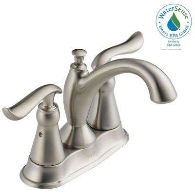 Linden 4 in. Centerset 2-Handle Bathroom Faucet with Metal Drain Assembly in Stainless