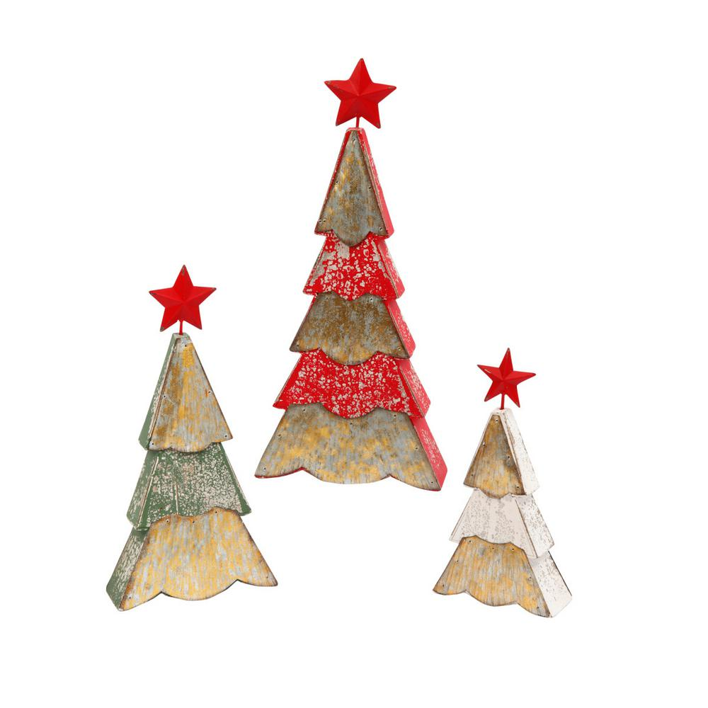 Metal Tabletop Christmas Tree: Wood And Metal Holiday Trees Star Winter Indoor Christmas