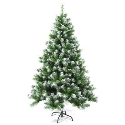 7 ft. Unlit Flocked Artificial Christmas Tree with Pine Cones