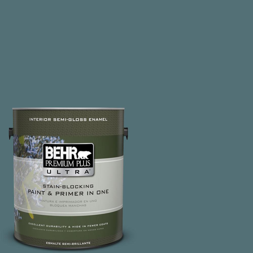 BEHR Premium Plus Ultra Home Decorators Collection 1-gal. #HDC-CL-22 Sophisticated Teal Semi-Gloss Enamel Interior Paint