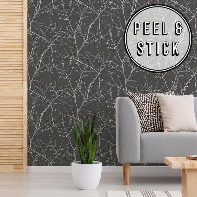 Transform Charcoal Branches Peel and Stick Removable Wallpaper