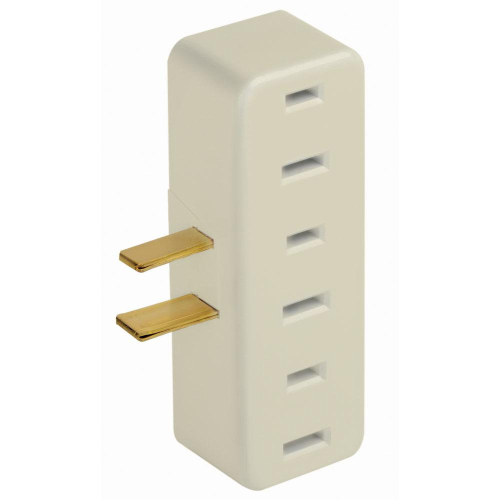 15 Amp Polarized Triple Outlet Adapter, Ivory