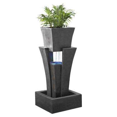 Raining Water Fountain with Planter LED Light
