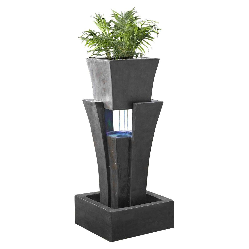 Fountain Cellar Raining Water Fountain With Planter Led Light Fcl048