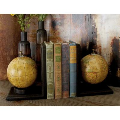 8 in. x 6 in. Rustic Wood Globe Bookends (Set of 2)