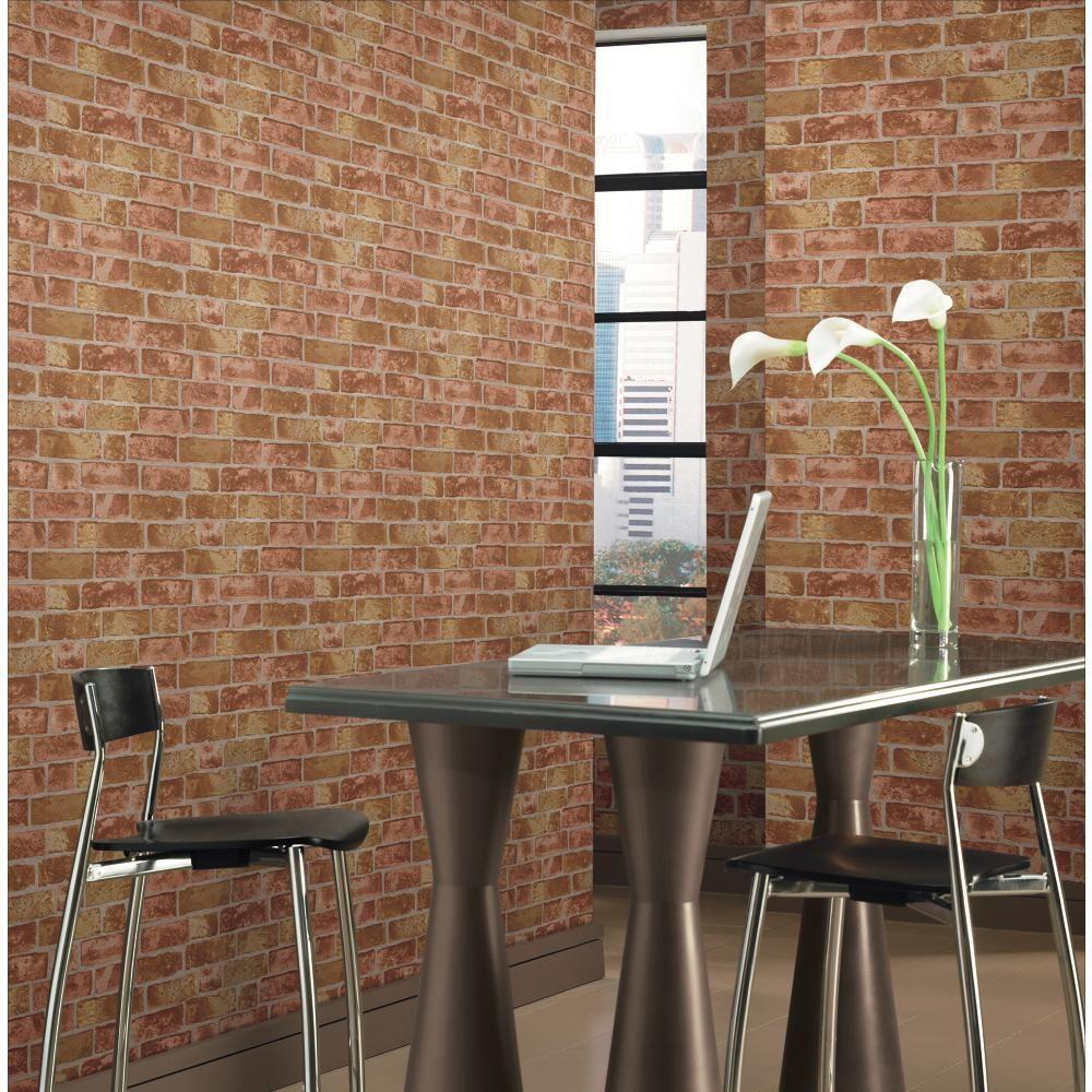 york wallcoverings 57 sq ft brick wallpaper he1044 the home depot. Black Bedroom Furniture Sets. Home Design Ideas