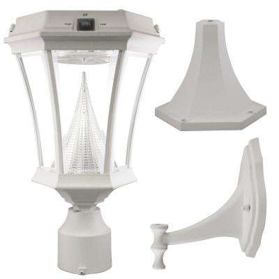 Victorian Single White Integrated LED Outdoor Solar Lamp with 3-Mounting Options 3 in. Fitter, Pier and Wall Mounts