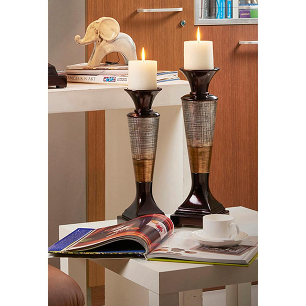 16 in. Naomi Color Block Candle Holder Set