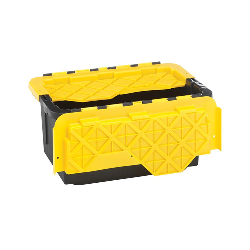 15-Gal. Flip-Lid Storage Box in Black/Yellow (6-Pack)