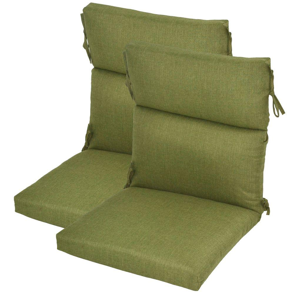 Plantation Patterns Green Textured Deluxe High Back Outdoor Chair Cushion (2-Pack)-DISCONTINUED