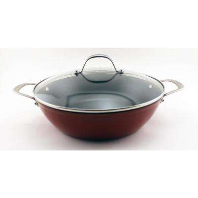 Light Cast Iron 4 Qt. Red Braiser with Glass Lid