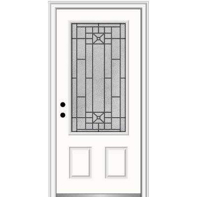 36 in. x 80 in. Courtyard Right-Hand 3/4-Lite Decorative Painted Fiberglass Smooth Prehung Front Door, 4-9/16 in. Frame