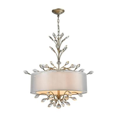 Asbury 4-Light Aged Silver Chandelier With Silver Organza Shade