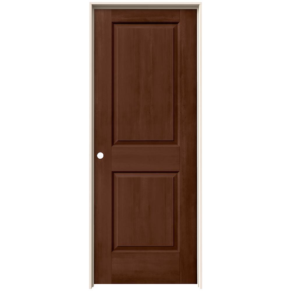 32 in. x 80 in. Cambridge Milk Chocolate Stain Right-Hand Solid Core Molded Composite MDF Single Prehung Interior Door