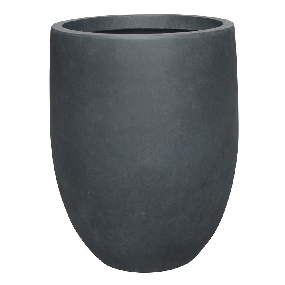 KANTE 21.7 in. Tall Charcoal Lightweight Concrete Round Outdoor Planter