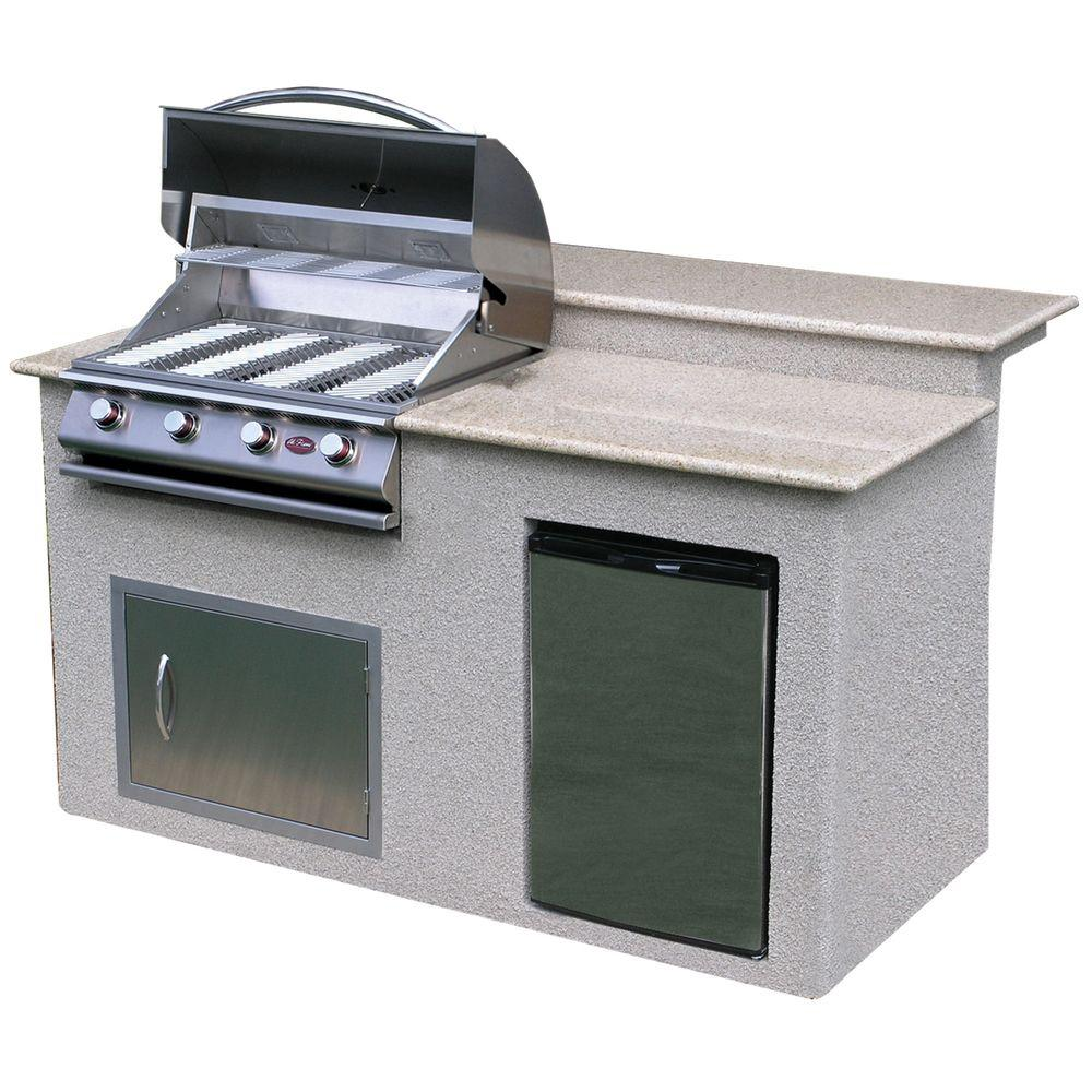6 ft. Stucco Grill Island with Granite Top and 4-Burner Gas