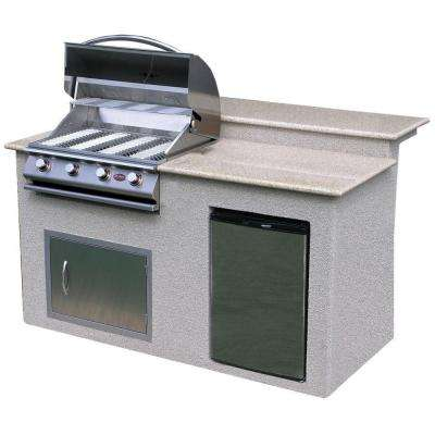 6 ft. Stucco Grill Island with Granite Top and 4-Burner Gas Grill in Stainless Steel