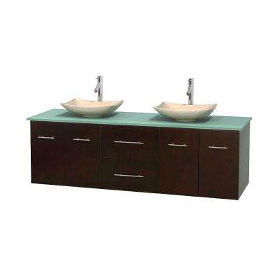 Centra 72 in. Double Vanity in Espresso with Glass Vanity Top in Green and Sinks