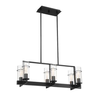 6-Light Matte Black Pendant with Clear Glass Shades