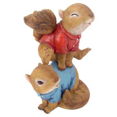 9 in. H Leaping Squirrels Garden Statue