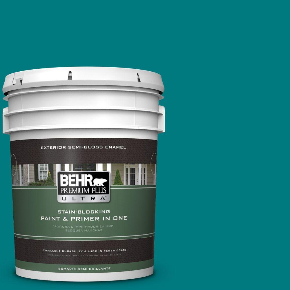 BEHR Premium Plus Ultra 5-gal. #S-G-500 Tropical Waters Semi-Gloss Enamel Exterior Paint