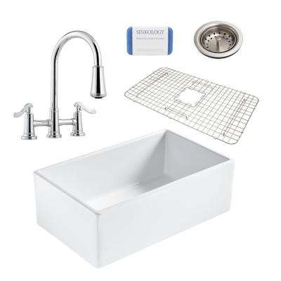 Bradstreet II All-in-One Farmhouse Fireclay 30 in. Single Bowl Kitchen Sink with Pfister Faucet and Drain