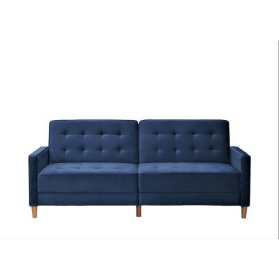 Jonathan 80 in. Deep Blue Tufted Velvet 2-Seater Twin Sleeper Sofa Bed with Square Arms