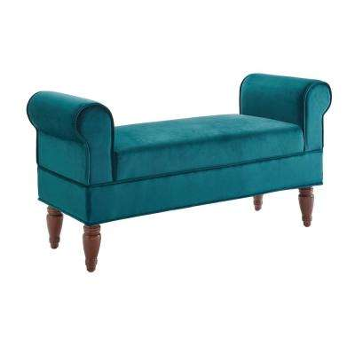 Lillian Teal Velvet Bench