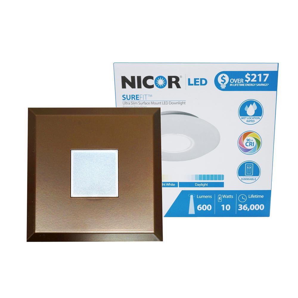 SureFit 9.6-Watt Square Oil-Rubbed Bronze Integrated LED Flush Mount with 2700K