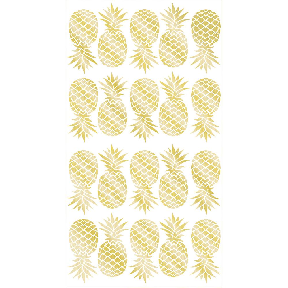 WallPOPs Gold Pineapple Wall Decals (Set of 2)-TWPK1908 - The Home Depot