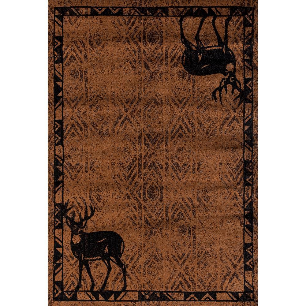Woodside Deer Gaze Brown 2 ft. x 7 ft. Area Rug
