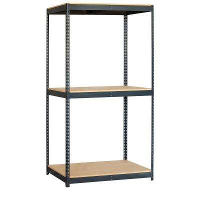 9700 Series 48 in. W x 84 in. H x 24 in. D 3-Shelf Heavy Duty Steel and Particleboard Solid Shelving