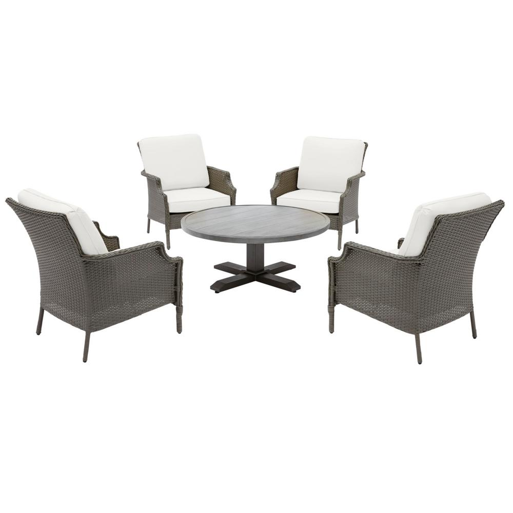 Hampton Bay Grayson Ash Gray 5-Piece Wicker Outdoor Patio Conversation Seating Set with CushionGuard Chalk White Cushions was $599.0 now $379.0 (37.0% off)