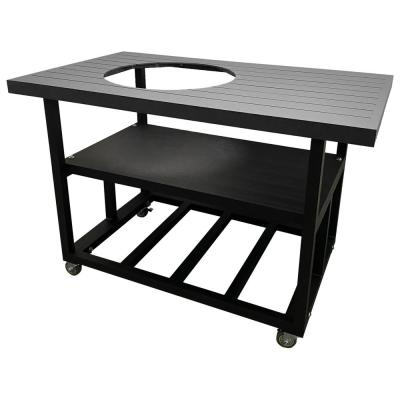 58 in. Aluminum Grill Cart Table for Kamado Joe Big Joe I in Charcoal Gray with Locking Wheels, Lifetime Warranty